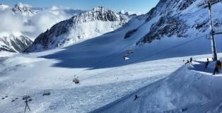 snowboarden im stubaital leere
