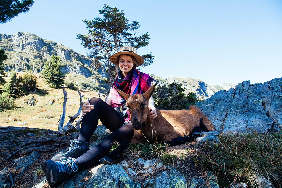Christine Neder und Ziege
