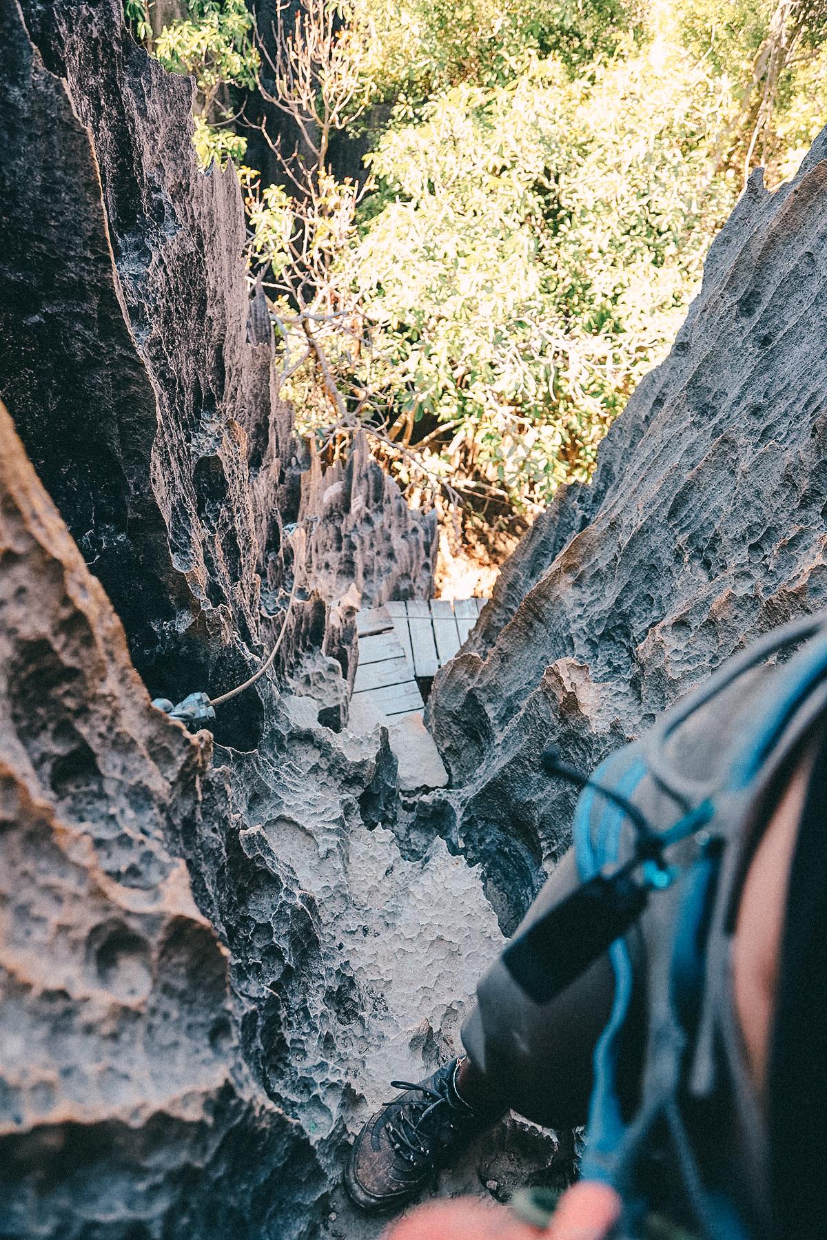 Klettern im großen Tsingy Nationalpark