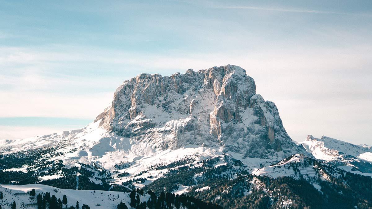 Blick auf den Langkofel Dolomiten Wolkenstein