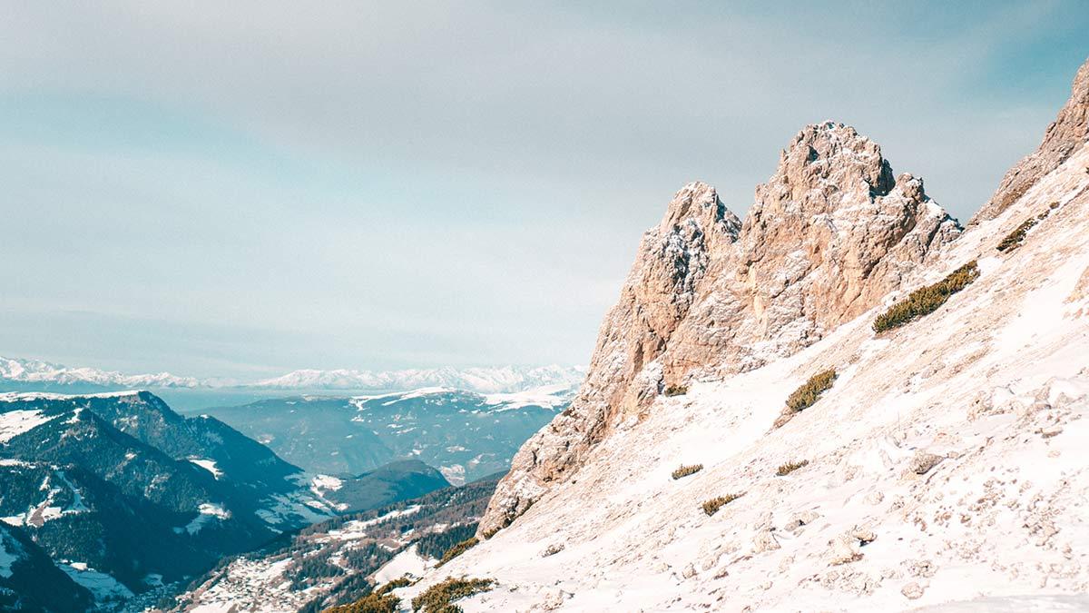 Wolkenstein Skigebiet Dolomiten Aussicht