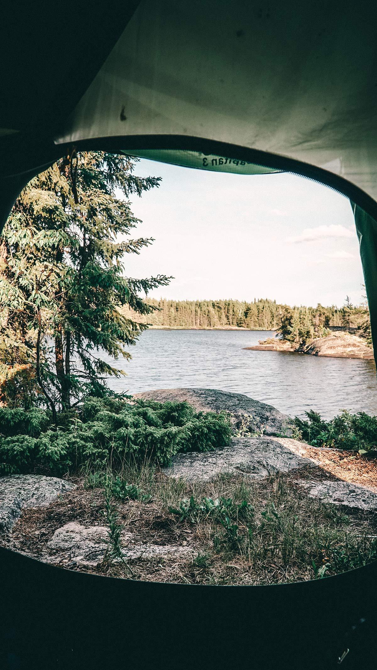 Kanu Trip Blick aus Zelt