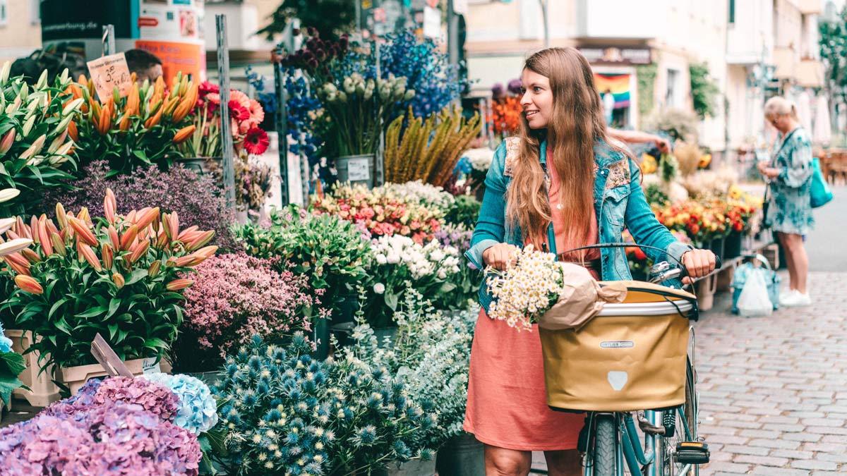 Blumen einkaufen auf Berliner markt