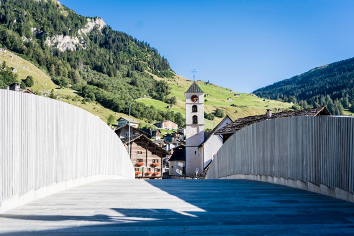 als in der Schweiz Blick auf Kirche in Vals, Schweiz