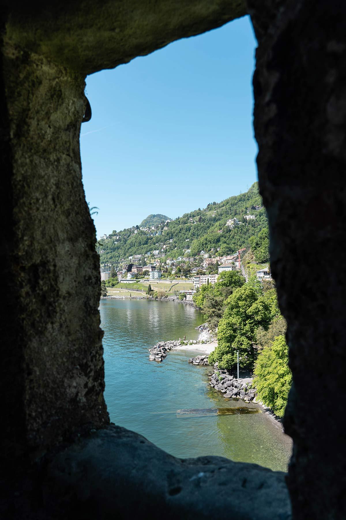 Ausblick vom Schloss Chillon in Montreux in der Schweiz